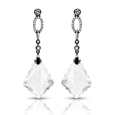 S1ER240 - 14K WHITE TOPAZ & DIAMOND EARRINGS;DIAMOND=1/6 CTTW (Pair)