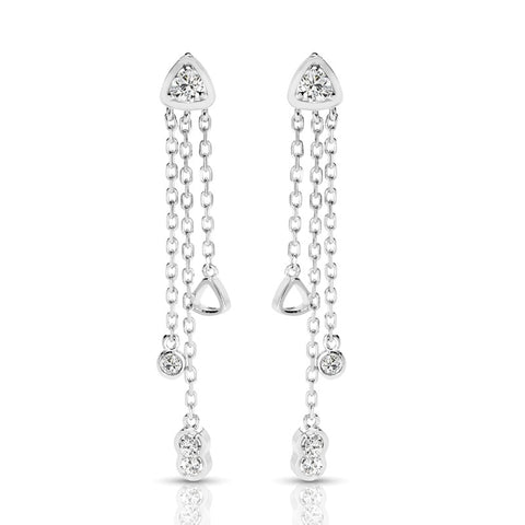 S1ER254 - 14K WHITE DANGLING EARRINGS;DIAMOND=1/3 CTTW (1/2 pair)