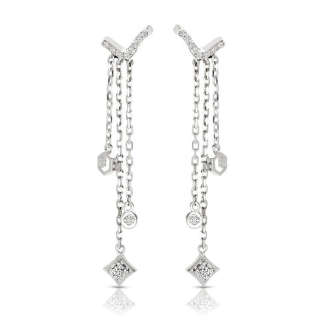 S1ER255 - 14K WHITE DANGLING EARRINGS;DIAMOND=1/4 CTTW (1/2 pair)