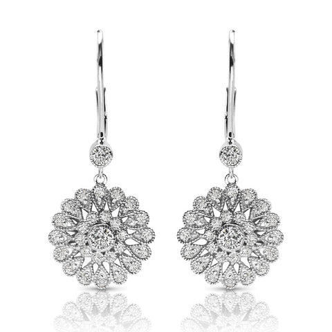 S1ER257 - 14K WHITE EARRINGS;DIAMOND=1 CTTW (1/2 pair)