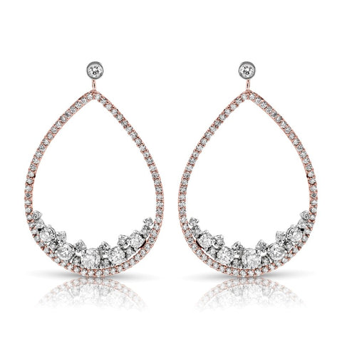 S1ER258 - 14K WHITE & ROSE EARRINGS;DIAMOND=2 1/5 CTTW (1/2 pair)