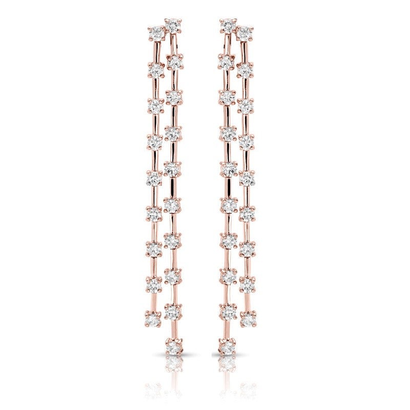 S1ER259 - 14K ROSE EARRINGS;DIAMOND=1 7/8 CTTW (1/2 pair)