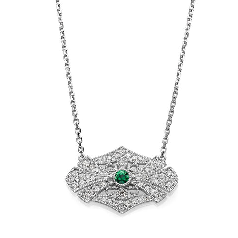 S1NK169-EM - 14KW EMERALD & DIAMOND NECKLACE;DIAMOND=1/5 CTTW;EMERALD=1/20 CTTW