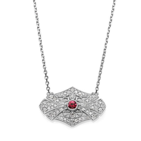 S1NK169-RU - 14KW RUBY & DIAMOND NECKLACE;DIAMOND=1/5 CTTW; RUBY=1/20 CTTW