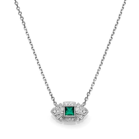 S1NK171-EM - 14KW EMERALD & DIAMOND NECKLACE;DIAMOND=1/20 CTTW;EMERALD=1/8 CTTW