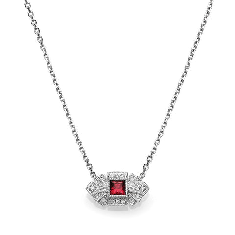 S1NK171-RU - 14KW RUBY & DIAMOND NECKLACE;DIAMOND=1/20 CTTW; RUBY=1/5 CTTW
