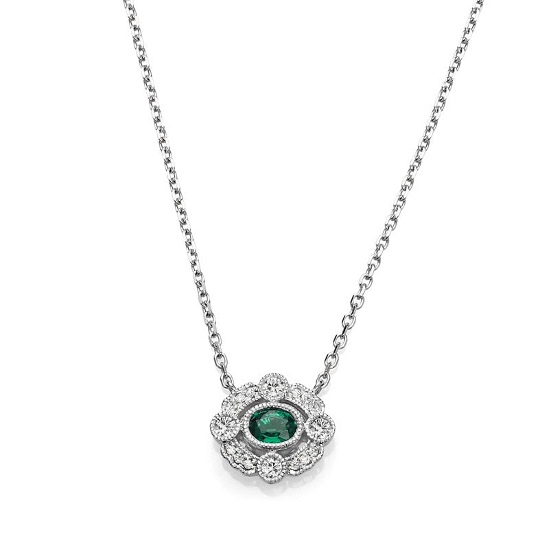 S1NK172-EM - 14KW EMERALD & DIAMOND NECKLACE;DIAMOND=1/20 CTTW;EMERALD=1/6 CTTW