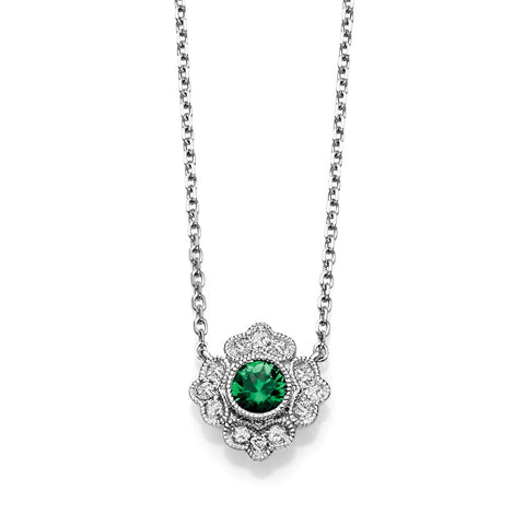 S1NK181-EM - 14KW EMERALD & DIAMOND NECKLACE;DIAMOND=1/20 CTTW;EMERALD=1/4 CTTW