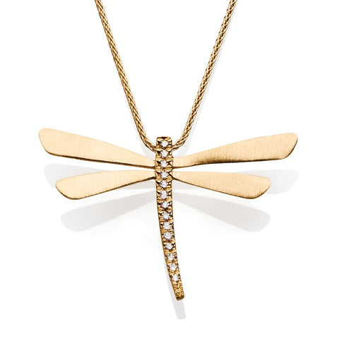 S1NK184 - 14KY DRAGONFLY DIAMOND NECKLACE;DIAMOND=1/20 CTTW