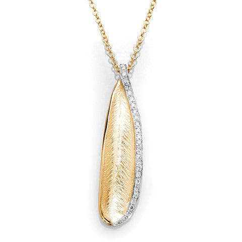 S1NK185 - 14KY LEAF DIAMOND NECKLACE;DIAMOND=1/8 CTTW