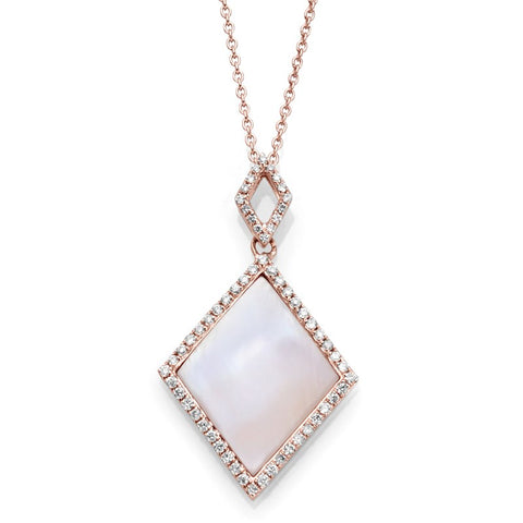 S1NK204 - 14K ROSE PEARL & DIAMOND NECKLACE;DIAMOND=1/5 CTTW