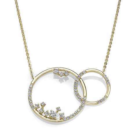 S1NK205 - 14KY INTERTWINED CIRCLE DIA NECKLACE;DIAMOND-1/2 CTTW