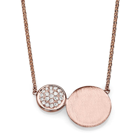 S1NK210 - 14K ROSE NECKLACE MATT FINISH;DIAMOND=1/10 CTTW