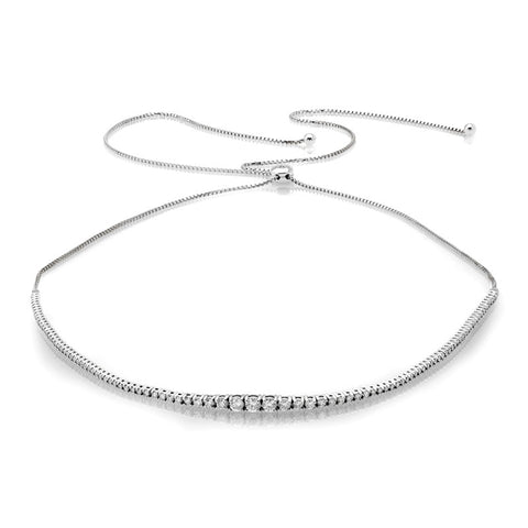 S1NK211 - 14K WHITE ADJUSTABLE NECKLACE;DIAMOND=2 1/3 CTTW