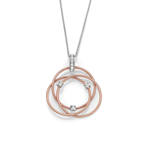 S1NK213 - 14K W/R INTERTWINED CIRCLE NECKLACE;DIAMOND=1/5 CTTW