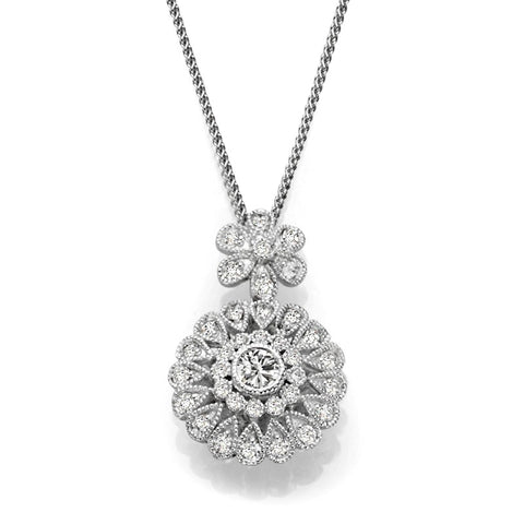 S1NK215 - 14K WHITE DIAMOND NECKLACE;DIAMOND=5/8 CTTW