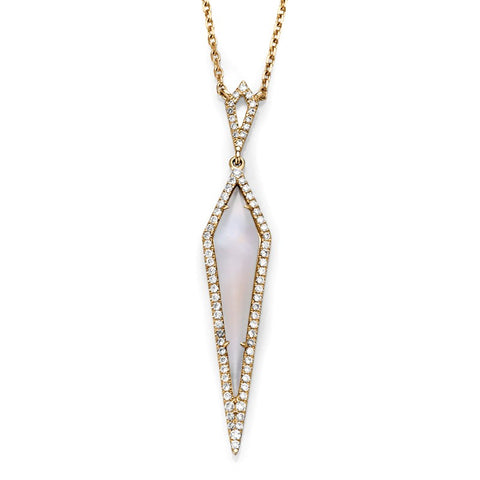 S1NK219 - 14KY MOONSTONE DIAMOND NECKLACE;DIAMOND=1/4 CTTW;MOONSTONE=1 1/3 CTTW