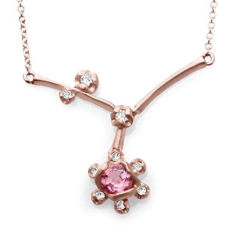 S1NK196 - 14KY GARNET & DIAMOND NECKLACE;DIAMOND=1/8 CTTW;PINK GARNET=1/3 CTTW