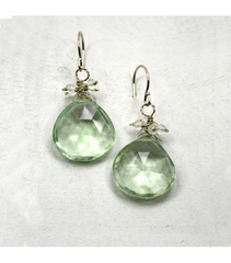 DEE028 - Green Amethyst, White Quartz Earrings