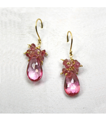 DEE042 - Pink Quartz, Pink Tourmaline Earrings