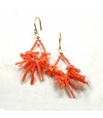 DEE066 - Coral Branch & Bead Earrings