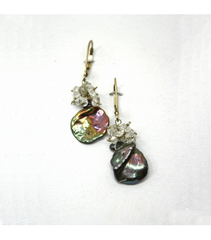 DEE072 - Fresh Water Pearl, White Quartz Earrings
