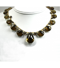 DEN016 - Smokey Quartz Cabochon and Facet, Citrine Beaded Necklace