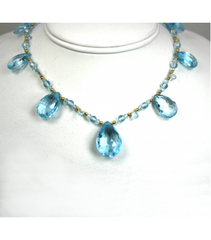 DEN018 - Blue Topaz Beaded Necklace