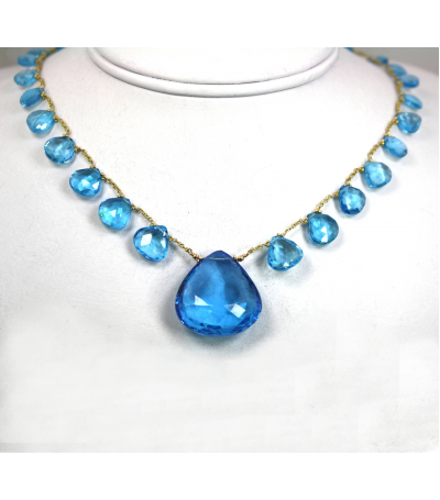 DEN022 - Blue Topaz Beaded Necklace
