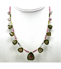 DEN026 - Watermelon Tourmaline Beaded Necklace