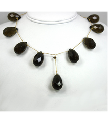 DEN038 - Smokey Quartz Beaded Necklace