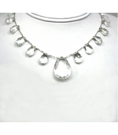 DEN042 - White Quartz Beaded Necklace