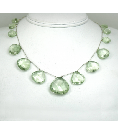 DEN044 - Green Amethyst White Quartz Beaded Necklace