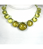 DEN048 - Lemon Citrine Cabochon, Perinite, Peridot Beaded Necklace