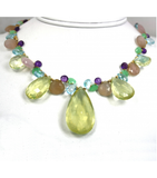 DEN052 - Lemon Citrine, Blue Topaz, Amethyst, Chrysoprase, Chalcedony Beaded Necklace