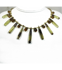 DEN054 - Bi-Color Lemon Smokey Quartz, Peridot Beaded Necklace