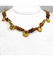 DEN056 - Citrine, Hessonite, Garnet Beaded Necklace