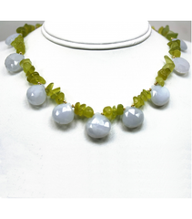 DEN058 - Chalcedony, Peridot Beaded Necklace