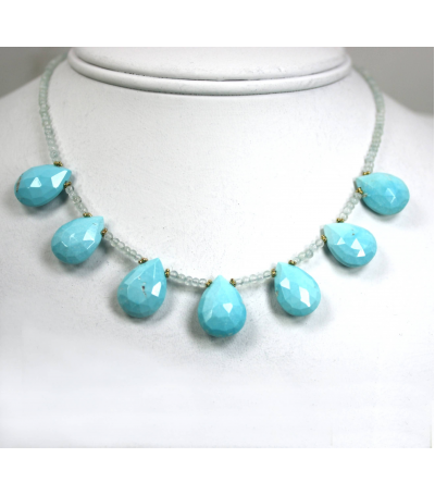 DEN062 - Turquoise, Aqua Beaded Necklace