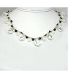 DEN066 - White Topaz, Melanite, Laborite, Moonstone Beaded Necklace