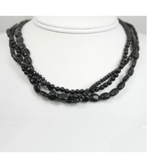 DEN072 - Onyx, Spinel Beaded Necklace