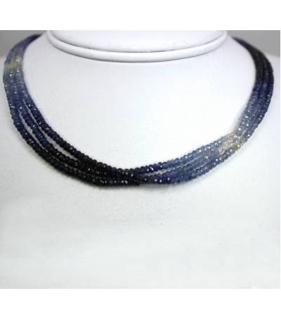 DEN074 - 3 Strand Sapphire Beaded Necklace