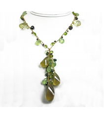 DEN088 - Lemon Citrine, Peridot, Prehnite, Tourmaline, Tsavorite beaded necklace