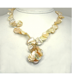 DENP014 - Fresh Water Peach Petal Pearls, white Seed Pearls Necklace