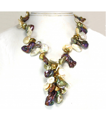 DENP024 - Fresh Water Petal Pearl Necklace Multicolor