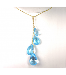 DEP012 - Blue Topaz Beaded Pendant