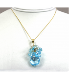 DEP014 - Blue Topaz Beaded Pendant