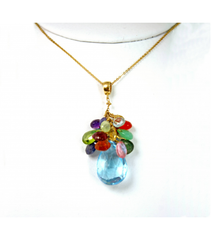 DEP016 - Blue Topaz, Multi Stone Beaded Pendant