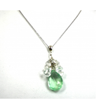 DEP020 - Fluorite and White Quartz Beaded Pendant