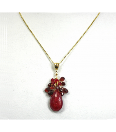 DEP028 - Ruby, Garnet Beaded Pendant